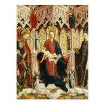 La Virgen y el niño Enthroned, c.1475 Postal