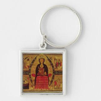 La Virgen y el niño Enthroned Llavero Cuadrado Plateado