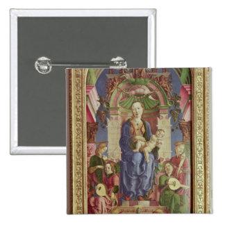 La Virgen y el niño Enthroned, mediados de 1470s Pin Cuadrada 5 Cm