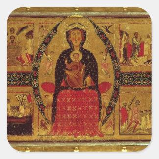 La Virgen y el niño Enthroned Calcomania Cuadradas Personalizadas