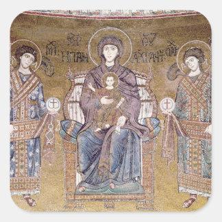 La Virgen y el niño Calcomania Cuadradas Personalizadas