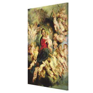 La Virgen y el niño rodeados Lona Envuelta Para Galerias