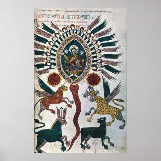La visión de Daniel de cuatro bestias y de dios Póster