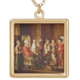 La visita a la abuela (aceite en lona) collar