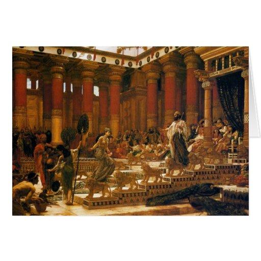 La visita de la reina de Sheba a rey Solomon Tarjeton