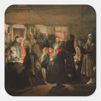 La visita de un hechicero a un boda campesino pegatina cuadrada