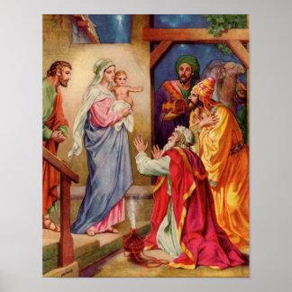 La visita del arte cristiano del navidad de Wiseme Poster