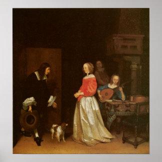 La visita del pretendiente, C. 1658 Póster
