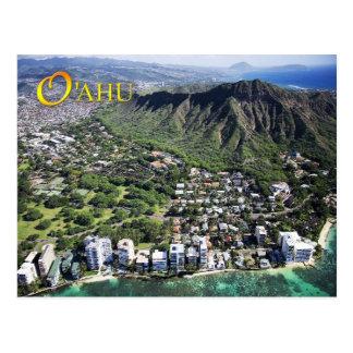 La vista aérea de la playa de Waikiki y el Tarjetas Postales