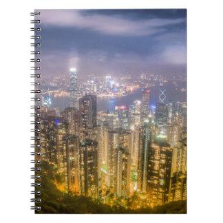 La vista de Hong Kong del pico Libro De Apuntes Con Espiral