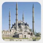 La vista de la mezquita, otomano, construyó pegatina cuadrada