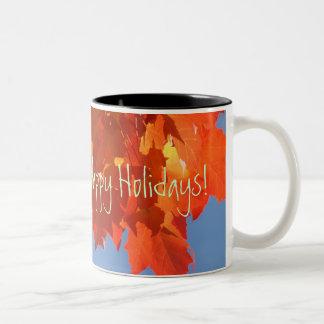 La voluntad a todos buenas fiestas asalta las taza de café de dos colores