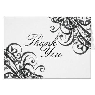 La voluta negra y blanca barroca exquisita le tarjeta de felicitación