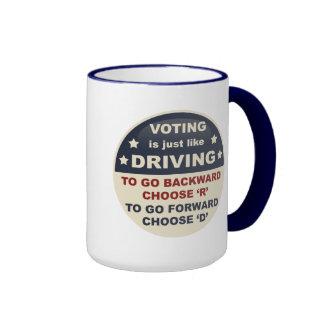 La votación es apenas como la conducción taza de dos colores