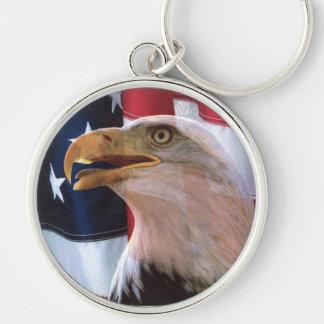 La voz de la libertad americana llavero redondo plateado