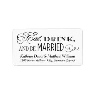 La vuelta blanca el | del boda come la bebida y etiquetas de dirección