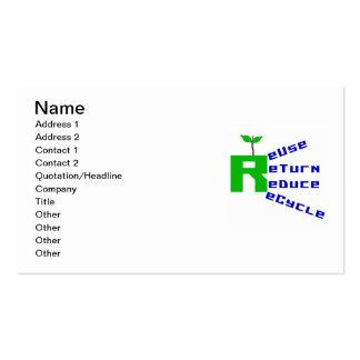 La vuelta de la reutilización reduce recicla las tarjetas de visita