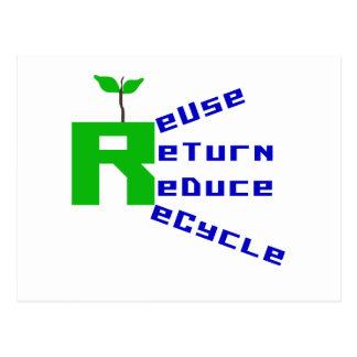 La vuelta de la reutilización reduce recicla las tarjetas postales