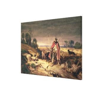 La vuelta del pastor (pluma y tinta marrón, w/c y impresiones de lienzo