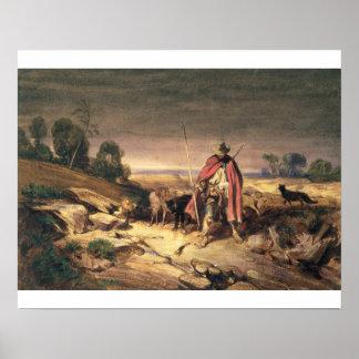 La vuelta del pastor pluma y tinta marrón w c y poster