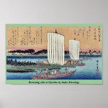 La vuelta navega en Gyotoku por Ando, Hiroshige Posters