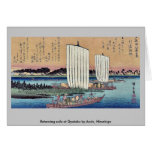 La vuelta navega en Gyotoku por Ando, Hiroshige Tarjeton