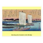 La vuelta navega en Gyotoku por Ando, Hiroshige Tarjeta Postal