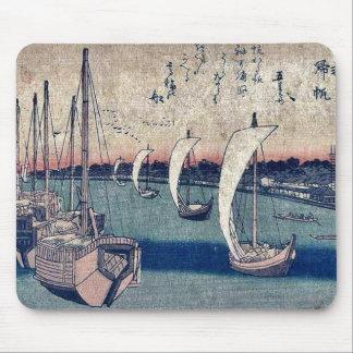 La vuelta navega en Takanawa por Ando, Hiroshige Alfombrillas De Ratones