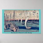 La vuelta navega en Takanawa por Ando, Hiroshige Poster