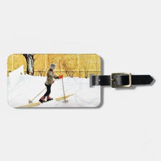 La yarda de Falun - niño pequeño en los esquís Etiquetas Bolsa
