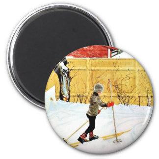 La yarda de Falun - niño pequeño en los esquís Imán Para Frigorifico