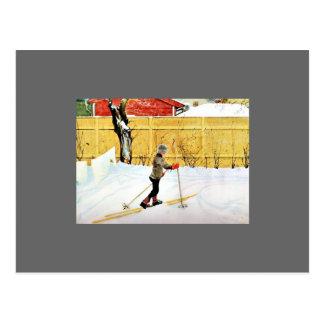 La yarda de Falun - niño pequeño en los esquís Tarjeta Postal