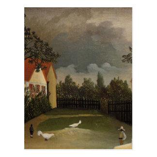 La yarda de las aves de corral de Henri Rousseau Tarjetas Postales