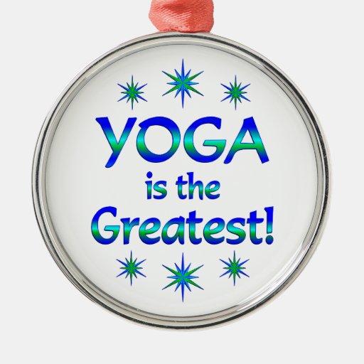 La yoga es la más grande adorno navideño redondo de metal