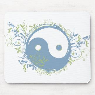 La yoga habla: Símbolo azul bonito de Yin-Yang Alfombrillas De Raton
