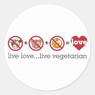 La yoga habla: Vegetariano vivo vivo del amor… Pegatina Redonda