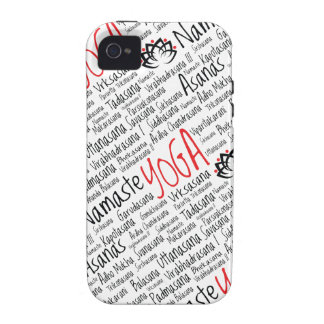 La yoga negra y roja elegante coloca el flor de Lo Case-Mate iPhone 4 Carcasa