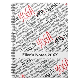 La yoga negra y roja elegante coloca el flor de Lo Spiral Notebook
