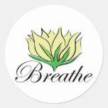 La yoga respira etiquetas redondas