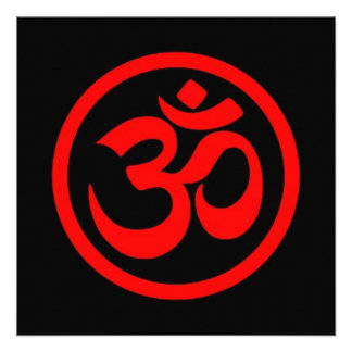 La yoga roja y negra OM circunda Comunicados