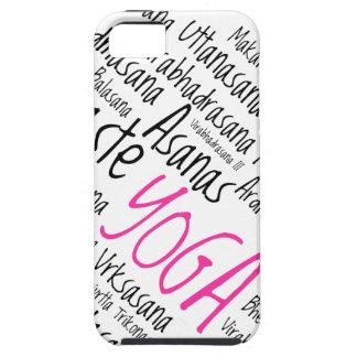 La yoga rosada y negra elegante coloca Asanas Funda Para iPhone 5 Tough