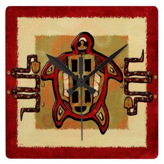Laako'ob Uchben Mayan Folk Art DECOR Square Wall Clock