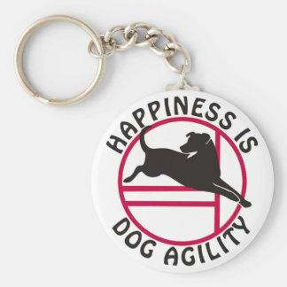 Lab Agility Happiness Basic Round Button Keychain