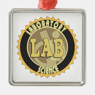 LAB BADGE LABORATORY SCIENCE SQUARE METAL CHRISTMAS ORNAMENT