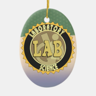 LAB BADGE LABORATORY SCIENCE Double-Sided OVAL CERAMIC CHRISTMAS ORNAMENT