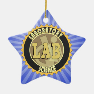LAB BADGE LABORATORY SCIENCE Double-Sided STAR CERAMIC CHRISTMAS ORNAMENT