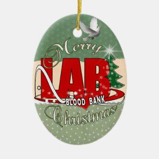 LAB BB BLOOD BANK MERRY CHRISTMAS LABORATORY CERAMIC ORNAMENT