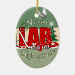 LAB BB BLOOD BANK MERRY CHRISTMAS LABORATORY Double-Sided OVAL CERAMIC CHRISTMAS ORNAMENT