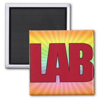 LAB - BIG RED BOLD MEDICAL LABORATORY LOGO 2 INCH SQUARE MAGNET