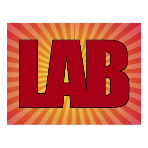LAB - BIG RED BOLD MEDICAL LABORATORY LOGO POSTCARD
